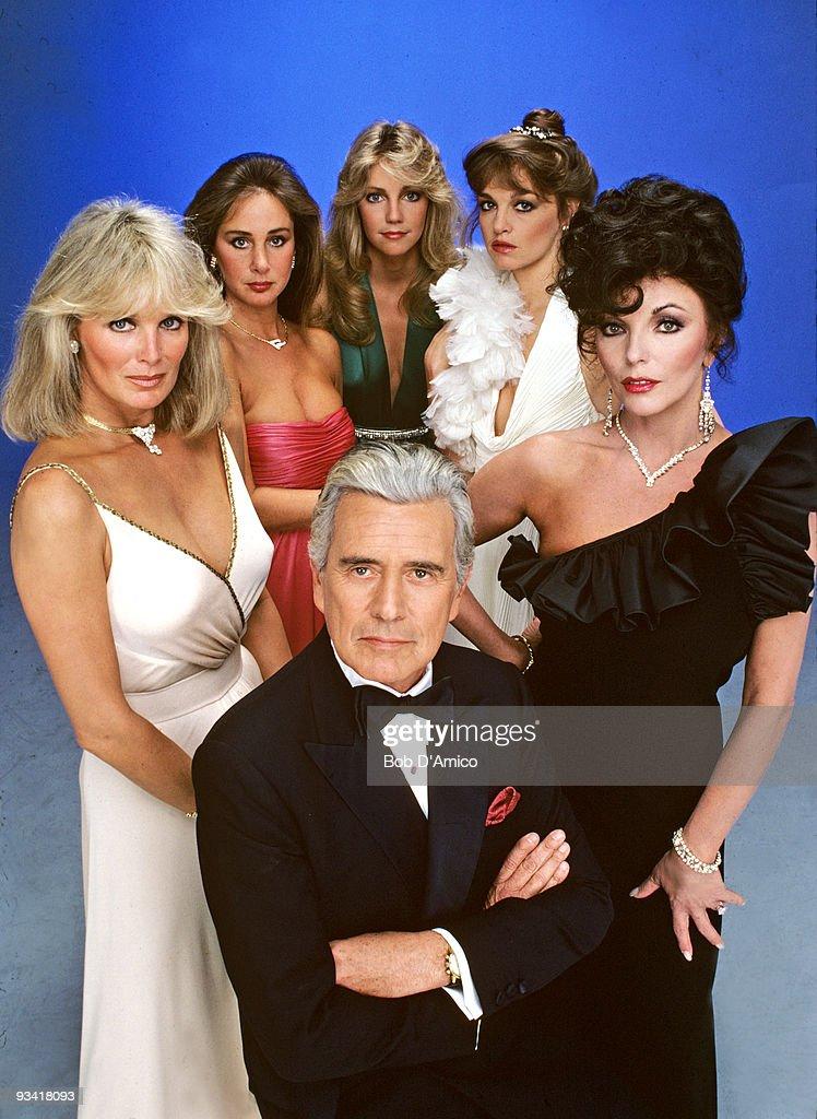 DYNASTY - Cast gallery - Season Two - 10/15/81, John Forsythe (Blake) and the 'Dynasty' women, from left: Linda Evans (Krystle), Pamela Bellwood (Claudia), Heather Locklear (Sammy Jo), Pamela Sue Martin (Fallon) and Joan Collins (Alexis). ,