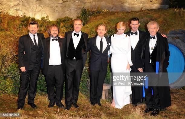 Cast including Cate Blanchett Sir Ian McKellen Martin Freeman James Nesbitt Andy Serkis and Richard Armitage with Perter Jackson arriving for the UK...