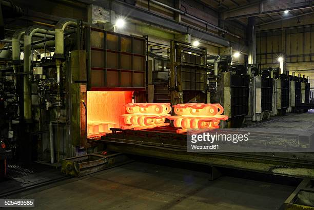 Cast iron in annealing oven in a foundry