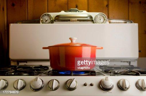 cast iron pot on stove