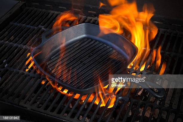 Cast Iron Skillet on Grill