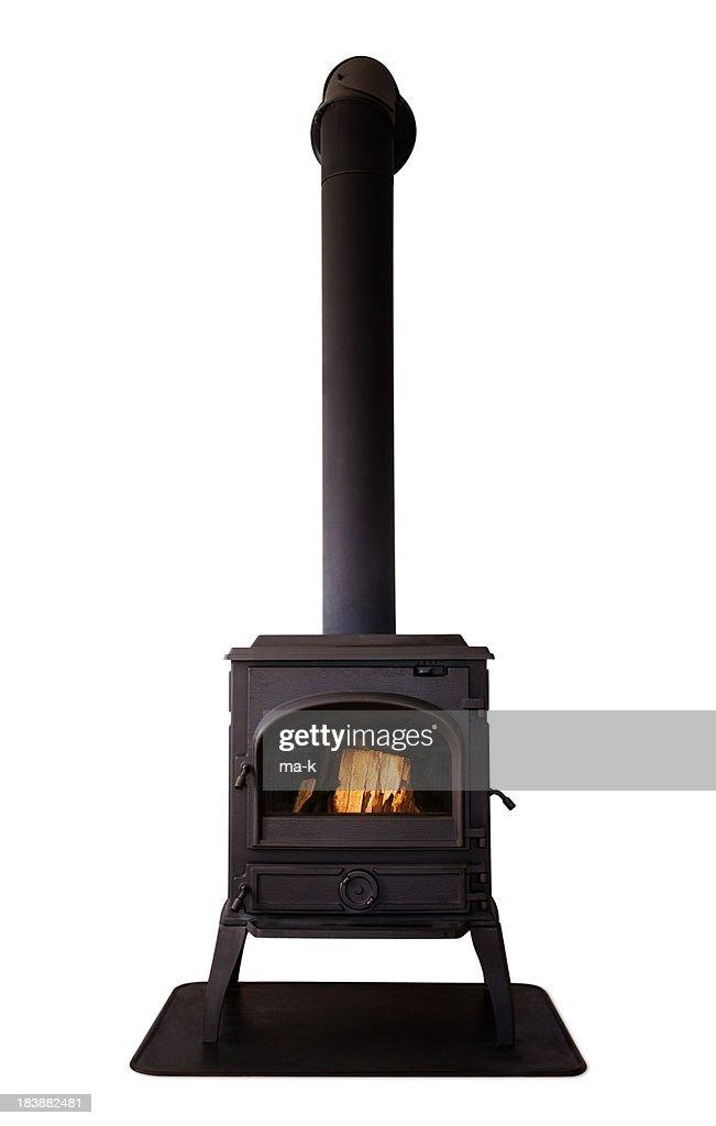 Cast iron stove isolated on white background
