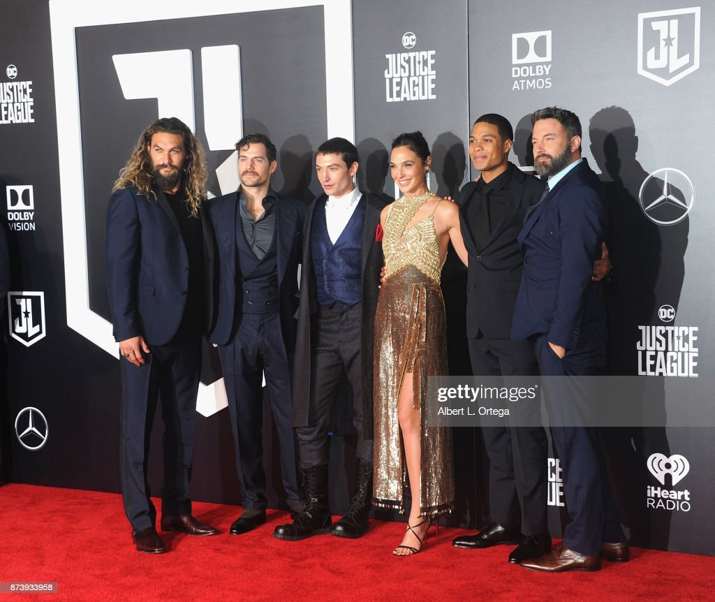 Cast (LtoR) Jason Momoa, Henry Cavill, Ezra Miller, Gal Gadot, Ray Fisher and arrive for the Premiere Of Warner Bros. Pictures' 'Justice League' held at Dolby Theatre on November 13, 2017 in Hollywood, California.