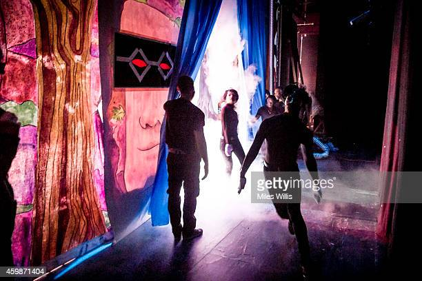 Cast leave back stage during a performance of Mother Goose at Hackney Empire on December 2 2014 in London England