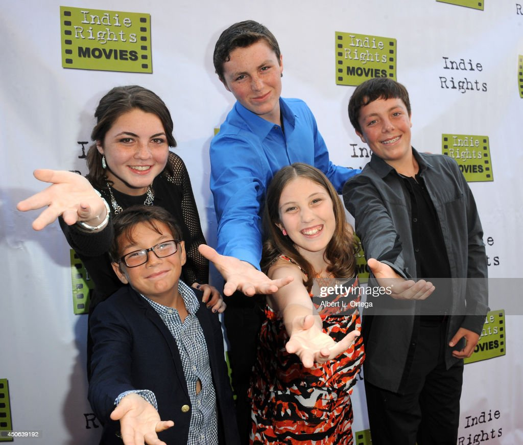 Cast (L-R) Lillian Almohajer, <a gi-track='captionPersonalityLinkClicked' href=/galleries/search?phrase=Matthew+King&family=editorial&specificpeople=776351 ng-click='$event.stopPropagation()'>Matthew King</a>, Nick King, Sid Almohajer and Karalena Morehead arrive for the Premiere Of 'The World Famous Kid Detective' held at The Arena Theater on June 14, 2014 in Hollywood, California.