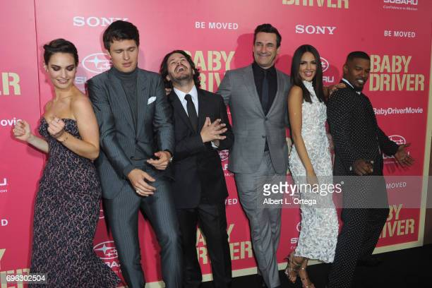 Cast Lily James Ansel Elgort Edgar Wright Jon Hamm Eiza Gonzales and Jamie Foxx arrive for the Premiere Of Sony Pictures' 'Baby Driver' held at Ace...