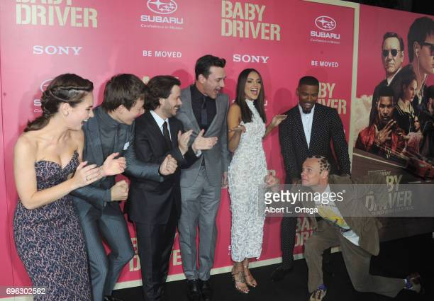 Cast Lily James Ansel Elgort Edgar Wright Jon Hamm Eiza Gonzales Jamie Foxx and Flea arrive for the Premiere Of Sony Pictures' 'Baby Driver' held at...