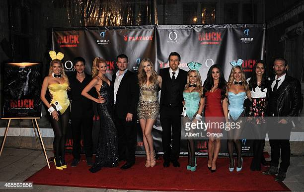 Cast LtoR Bryce Draper Kennedy Summers Grant Alan Ouzts Laura Jacobs director Steve Wolsh Jaclyn Swedberg Raquel Pomplun and Kaiwi Lyman with Playboy...