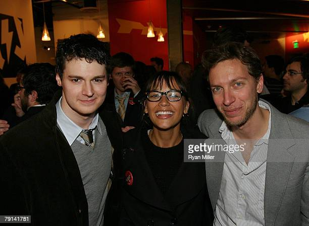 Cast member actor Benjamin Walker actress Rashida Jones and composer and lyricist Michael Friedman pose together during the opening night party for...