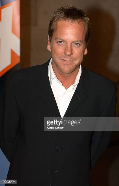 24 cast member Actor Kiefer Sutherland arrives for the 'Fox Upfront Previews 20032004' May 15 2003 at Grand Central in New York City