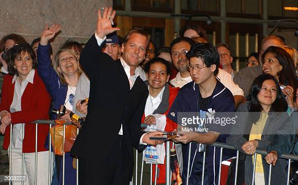 24 cast member Actor Kiefer Sutherland greets fans at the 'Fox Upfront Previews 20032004' May 15 2003 at Grand Central in New York City