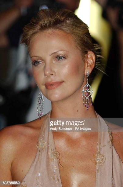 Cast member actress Charlize Theron arrives for the UK film premiere of The Italian Job at the Empire Leicester Square in London