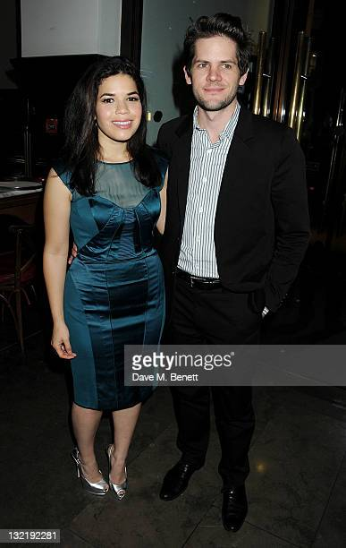 Cast member America Ferrera and husband Ryan Piers Williams attend an after party following the Press Night performance of 'Chicago' at The National...