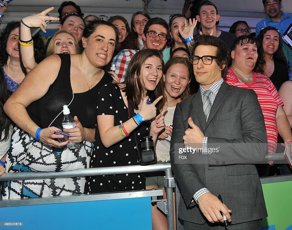 NINE cast member <a gi-track='captionPersonalityLinkClicked' href=/galleries/search?phrase=Andy+Samberg&family=editorial&specificpeople=595651 ng-click='$event.stopPropagation()'>Andy Samberg</a> during the FOX 2014 FANFRONT event at The Beacon Theatre in NY on Monday, May 12, 2014.