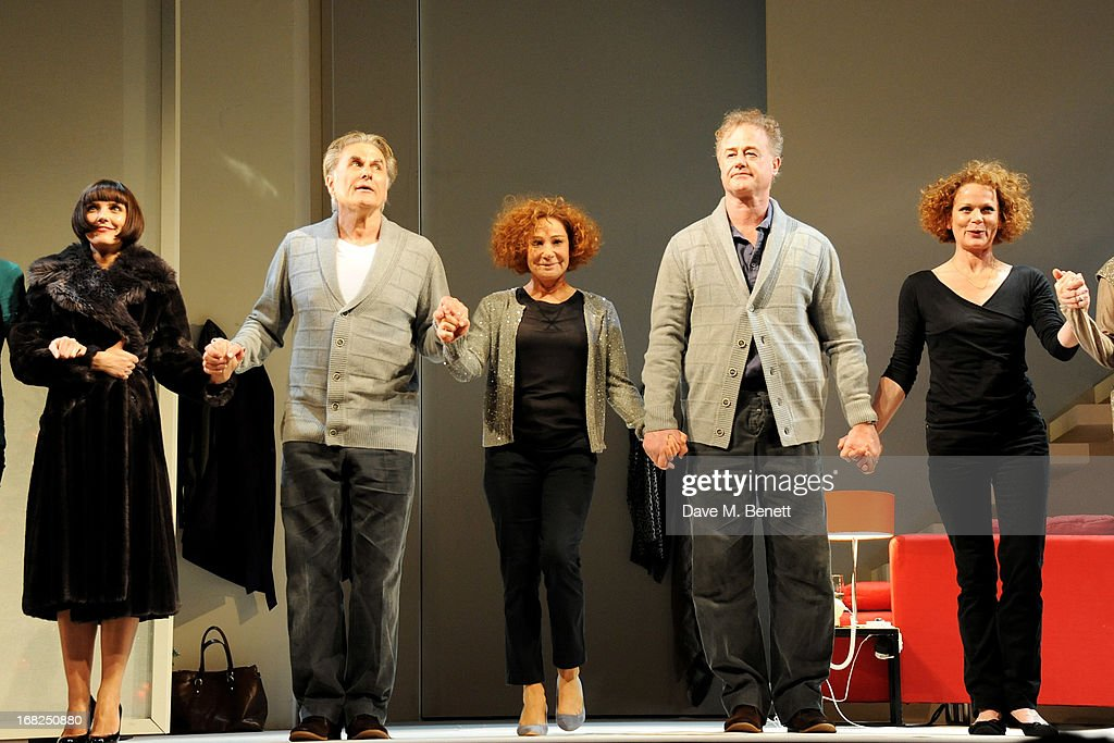 Cast member Annabel Scholey, Oliver Cotton, Zoe Wanamaker, Owen Teale and <a gi-track='captionPersonalityLinkClicked' href=/galleries/search?phrase=Samantha+Bond&family=editorial&specificpeople=209017 ng-click='$event.stopPropagation()'>Samantha Bond</a> bow at the curtain call during the press night performance of 'Passion Play' at the Duke Of York's Theatre on May 7, 2013 in London, England.