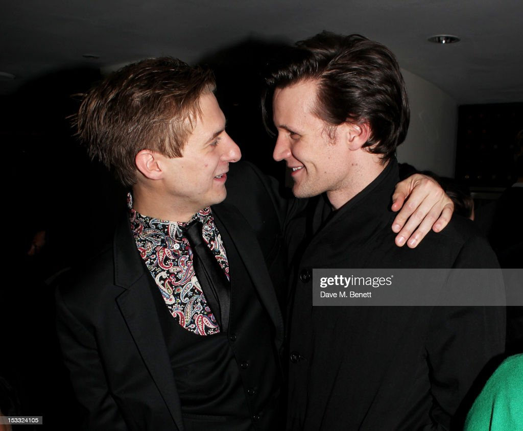 Cast member Arthur Darvill (L) and <a gi-track='captionPersonalityLinkClicked' href=/galleries/search?phrase=Matt+Smith+-+Actor&family=editorial&specificpeople=6877373 ng-click='$event.stopPropagation()'>Matt Smith</a> attend an after party celebrating the press night performance of 'Our Boys' at One Aldwych on October 3, 2012 in London, England.
