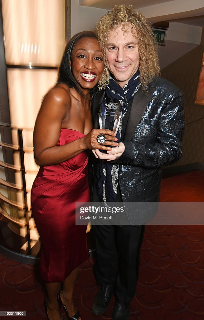 Cast member Beverley Knight and writer David Bryan pose with the Best New Musical award for 'Memphis The Musical' in the press room at the...