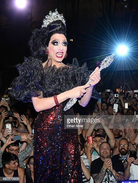 Cast member Bianca Del Rio celebrates after being declared the winner of season six of 'RuPaul's Drag Race' during a viewing party for the show's...