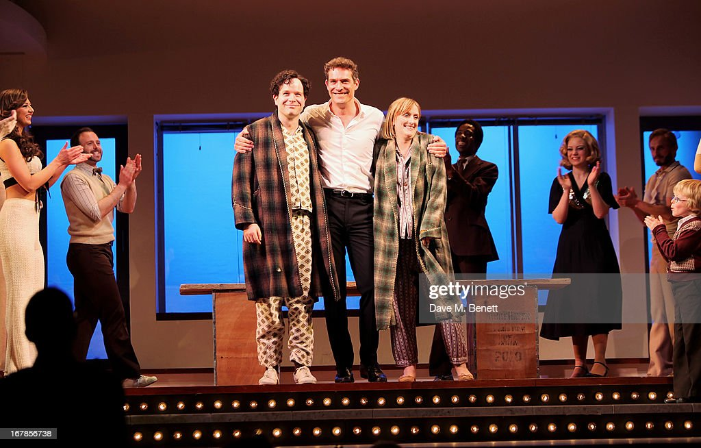 Cast member Damian Humbley, Mark Umbers and Jenna Russell bow at the curtain call during the press night performance of the Menier Chocolate Factory's 'Merrily We Roll Along' as it transfers to the Harold Pinter Theatre on May 1, 2013 in London, England.
