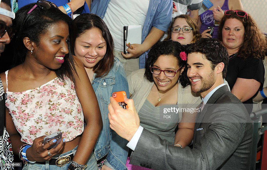 GLEE cast member <a gi-track='captionPersonalityLinkClicked' href=/galleries/search?phrase=Darren+Criss&family=editorial&specificpeople=7341435 ng-click='$event.stopPropagation()'>Darren Criss</a> during the FOX 2014 FANFRONT event at The Beacon Theatre in NY on Monday, May 12, 2014.