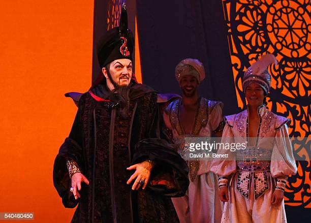 Cast member Don Gallagher bows at the curtain call during the press night performance of Disney's 'Aladdin' at The Prince Edward Theatre on June 15...