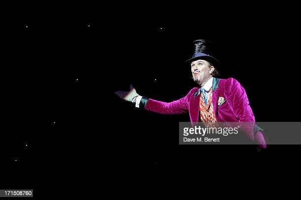 Cast member Douglas Hodge bows at the curtain call during the press night performance of 'Charlie And The Chocolate Factory' at the Theatre Royal...