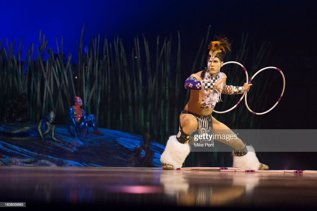 Cast member Eric Hernandez performs in 'Cirque Du Soleil's Totem' Dress Rehearsal at Citi Field on March 13 2013 in New York City