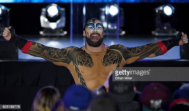 A cast member from 'KA by Cirque du Soleil' performs before the Vegas Golden Knights was announced as the name for the Las Vegas NHL franchise at...