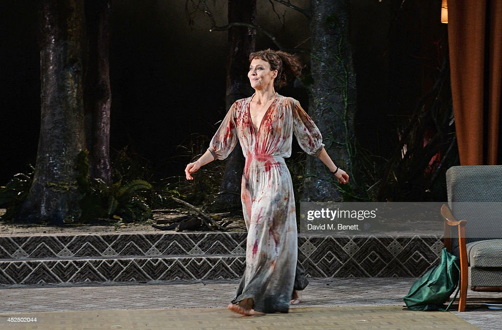 Cast member <a gi-track='captionPersonalityLinkClicked' href=/galleries/search?phrase=Helen+McCrory&family=editorial&specificpeople=214616 ng-click='$event.stopPropagation()'>Helen McCrory</a> bows at the curtain call following the press night performance of 'Medea' at The National Theatre on July 21, 2014 in London, England.