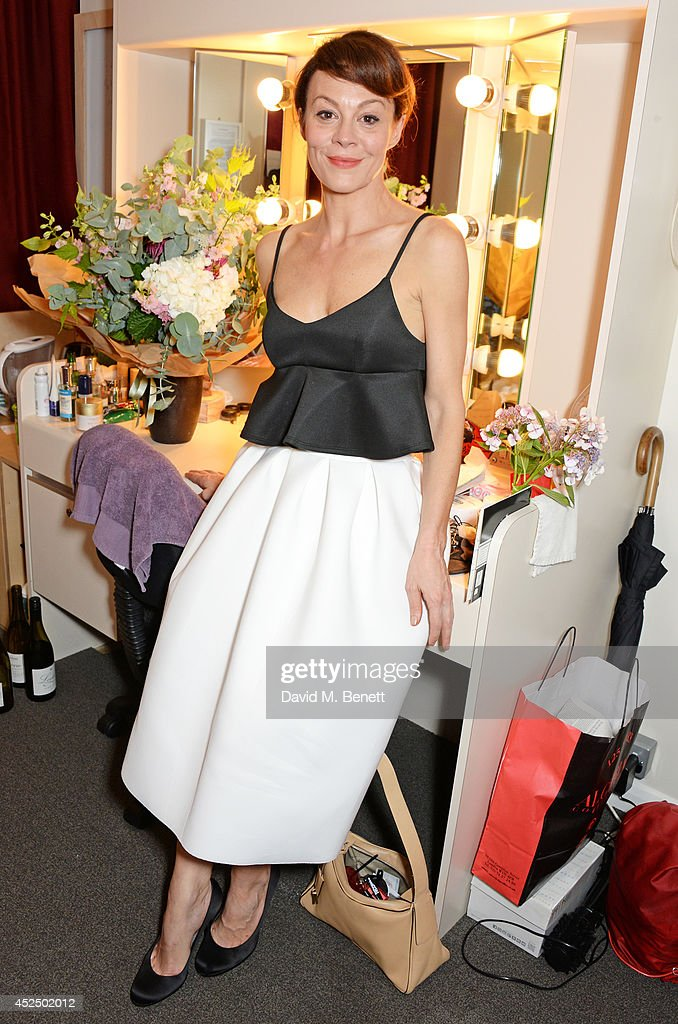 Cast member <a gi-track='captionPersonalityLinkClicked' href=/galleries/search?phrase=Helen+McCrory&family=editorial&specificpeople=214616 ng-click='$event.stopPropagation()'>Helen McCrory</a> poses backstage following the press night performance of 'Medea' at The National Theatre on July 21, 2014 in London, England.
