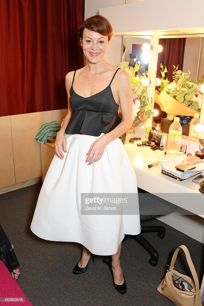 Cast member Helen McCrory poses backstage following the press night performance of 'Medea' at The National Theatre on July 21, 2014 in London, England.