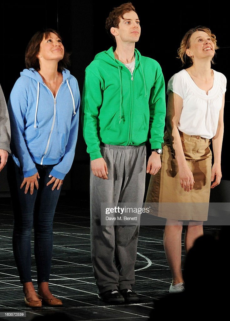 Cast member Holly Aird, <a gi-track='captionPersonalityLinkClicked' href=/galleries/search?phrase=Luke+Treadaway&family=editorial&specificpeople=737104 ng-click='$event.stopPropagation()'>Luke Treadaway</a> and Niamh Cusack bow at the curtain call during the press night performance of 'The Curious Incident of the Dog in the Night-Time' at The Apollo Theatre on March 12, 2013 in London, England.