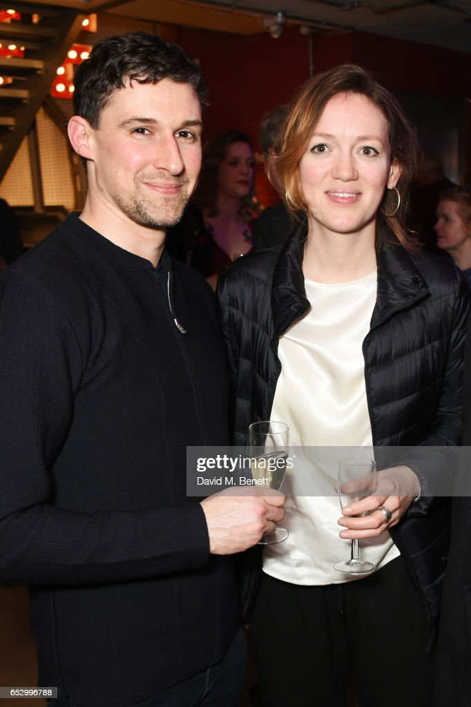Cast member Joe Coen (L) and Lucy Briggs-Owen attend the press night performance of 'A Dark Night In Dalston' at the Park Theatre on March 13, 2017 in London, England.