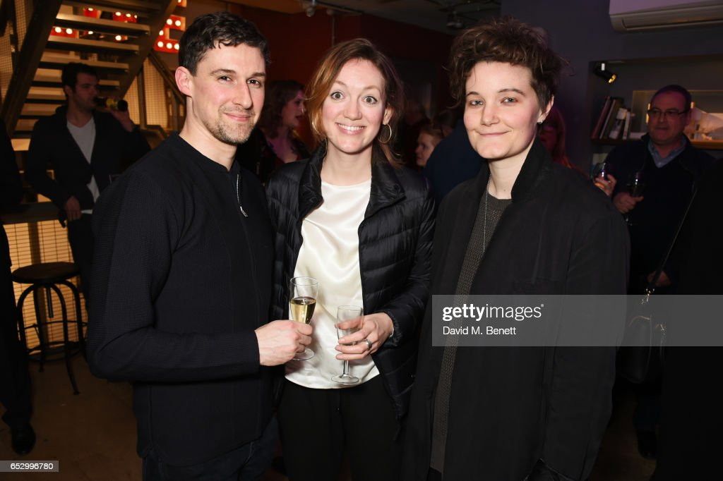 Cast member Joe Coen, Lucy Briggs-Owen and guest attend the press night performance of 'A Dark Night In Dalston' at the Park Theatre on March 13, 2017 in London, England.