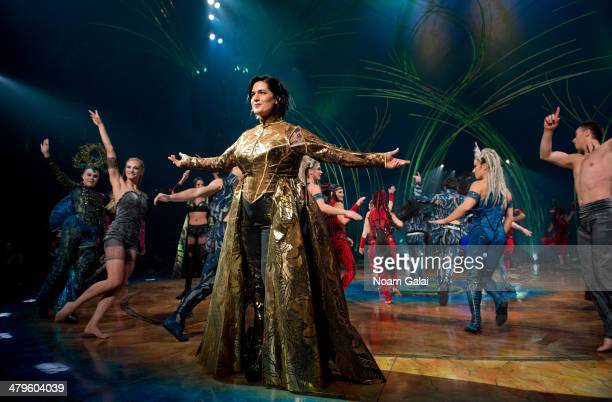 Cast member Julie McInnes performs at the 'Cirque Du Soleil Amaluna' dress rehearsal at Citi Field on March 19 2014 in New York City