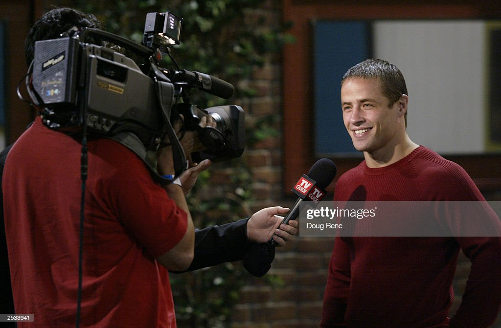 Cast member Justin Giovinco is interviewed after the season finale of Big Brother 4 on September 24 2003 at the CBS Studio Center/Ratford Lot in...
