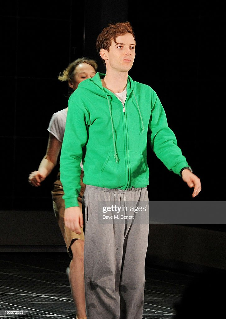 Cast member Luke Treadaway bows at the curtain call during the press night performance of 'The Curious Incident of the Dog in the NightTime' at The...