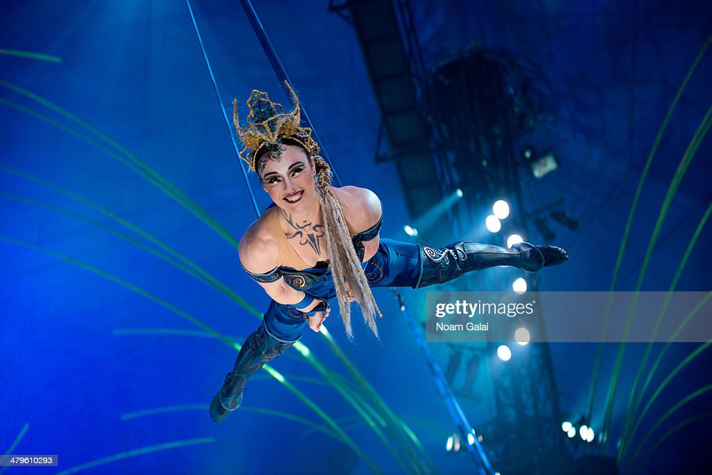 A cast member of Cirque Du Soleil performs at the 'Cirque Du Soleil Amaluna' dress rehearsal at Citi Field on March 19, 2014 in New York City.