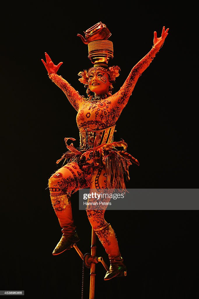 A cast member of Cirque Du Soleil performs in 'Cirque Du Soleil's Totem' dress rehearsal at Alexandra Park on August 21, 2014 in Auckland, New Zealand.
