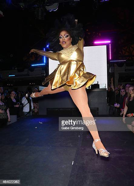 Cast member of season seven of 'RuPaul's Drag Race' Kennedy Davenport performs on stage during a viewing party for the show's premiere at the Chateau...