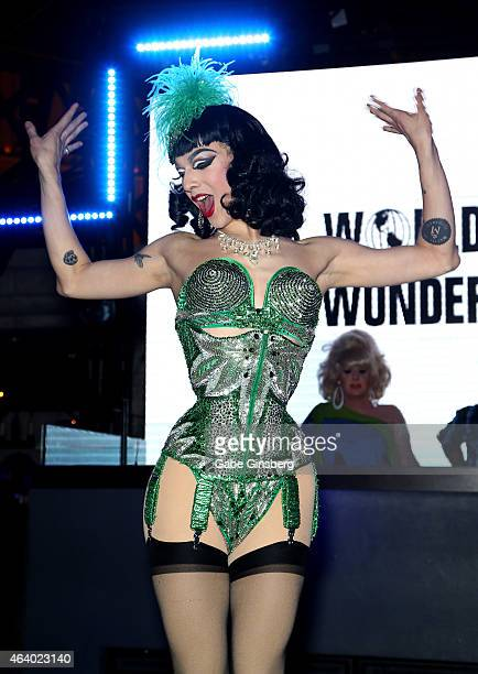 Cast member of season seven of 'RuPaul's Drag Race' Violet Chachki performs on stage during a viewing party for the show's premiere at the Chateau...
