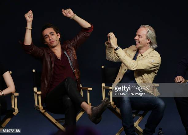 Cast member of the film The Mortal Instruments City of Bones Robert Sheehan and director Harald Zwart during a Meet the Actors event at the Apple...