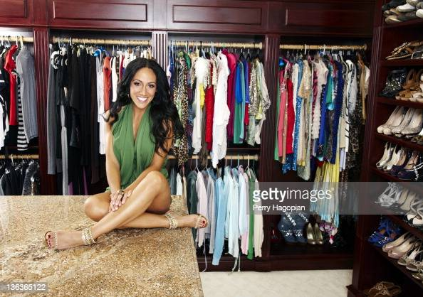 Cast member of The Real Housewives of New Jersey Melissa Gorga is photographed for Us Weekly Magazine in her closet on June 13 2011 in Montville New...