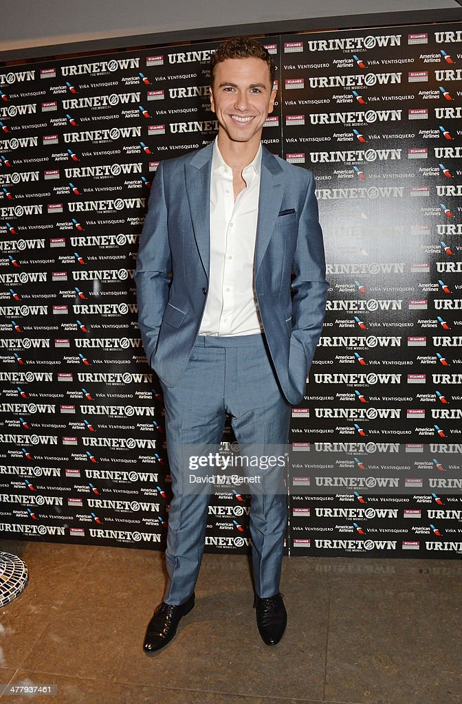 Cast member Richard Fleeshman attends the press night performance of 'Urinetown' at the St James Theatre on March 11, 2014 in London, England.