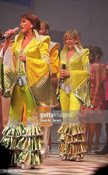 Cast member Sally Ann Triplett and guest performer Penny Smith perform during the curtain call at the Mamma Mia Gala Performance in support of BBC...