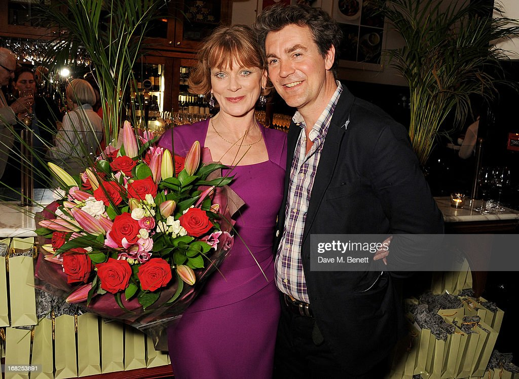 Cast member <a gi-track='captionPersonalityLinkClicked' href=/galleries/search?phrase=Samantha+Bond&family=editorial&specificpeople=209017 ng-click='$event.stopPropagation()'>Samantha Bond</a> (L) and husband Alexander Hanson attends an after party following the press night performance of 'Passion Play' at The National Gallery on May 7, 2013 in London, England.