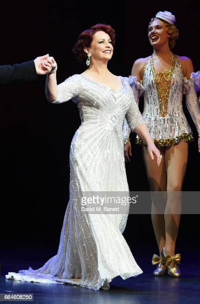 Cast member Sheena Easton bows at the curtain call during the Opening Night Royal Gala performance of '42nd Street' in aid of the East Anglia...