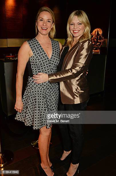 Cast member Tamzin Outhwaite and Kate Thornton attend the press night after party of 'How The Other Half Loves' at Mint Leaf on March 31 2016 in...