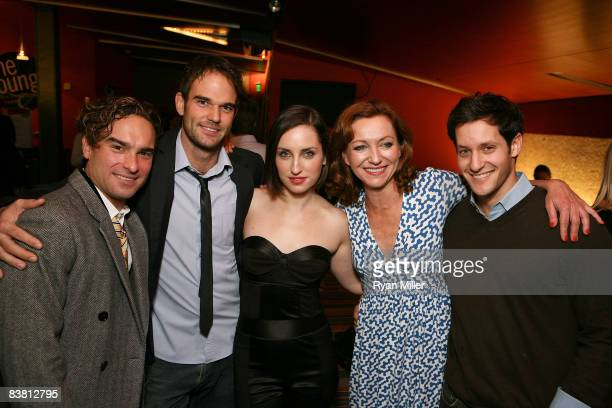 Cast members actors Johnny Galecki Brian Henderson Zoe ListerJones Julie White and understudy Jeremy Glazer pose during the opening night party for...