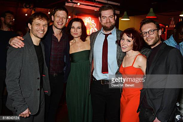Cast members Alec Newman James Norton Kate Fleetwood director Simon Evans Daisy Lewis and Carl Prekopp attend the press night performance of 'Bug' at...